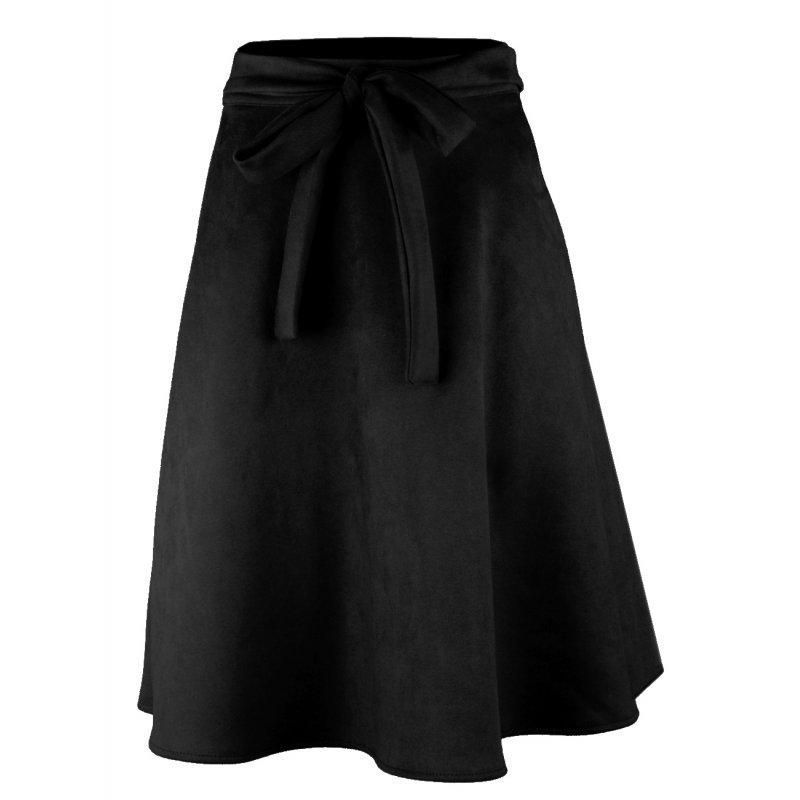 Modna Czarna SPÓDNICA Damska Midi z Koła Eko Zamsz Spódnica Wykonana z Zamszu Czarna Spódnica Midi
