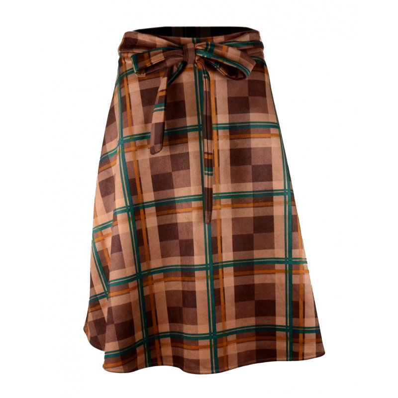 Midi Spódnica w Kratę z Koła - Brązowo-Zielona Spódniczka za Kolano Spódniczka w Kratę Spódnica Midi