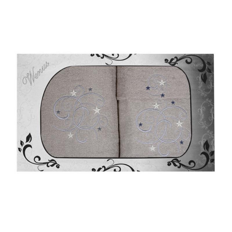 Komplet ręczników na prezent 3cz Wzorzysty MZ-3957 Komplet Ręczników Frotte Komplet Szarych Ręczników