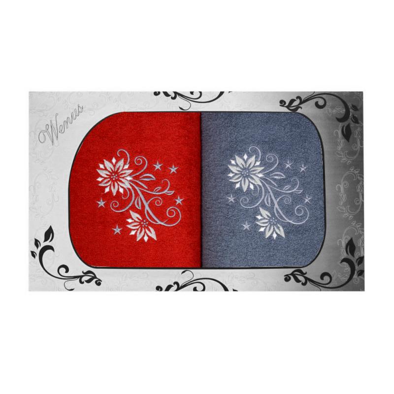 Komplet ręczników na prezent 2cz Mąż Żona MZ-3956 Komplet Ręczników z Haftem
