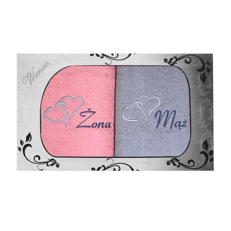 Komplet ręczników na prezent 2cz Mąż Żona MZ-3952 Komplet Ręczników na Ślub