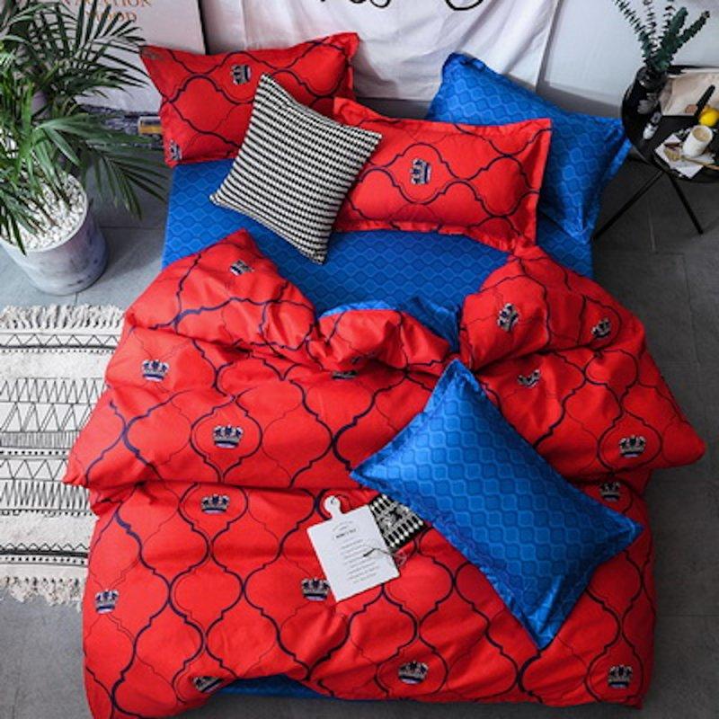 Bawełniana Pościel Maroko 200x220 Czerwona Granatowa pościel 200x220 Granatowo Czerwona Pościel Czerwona Pościel Granatowa