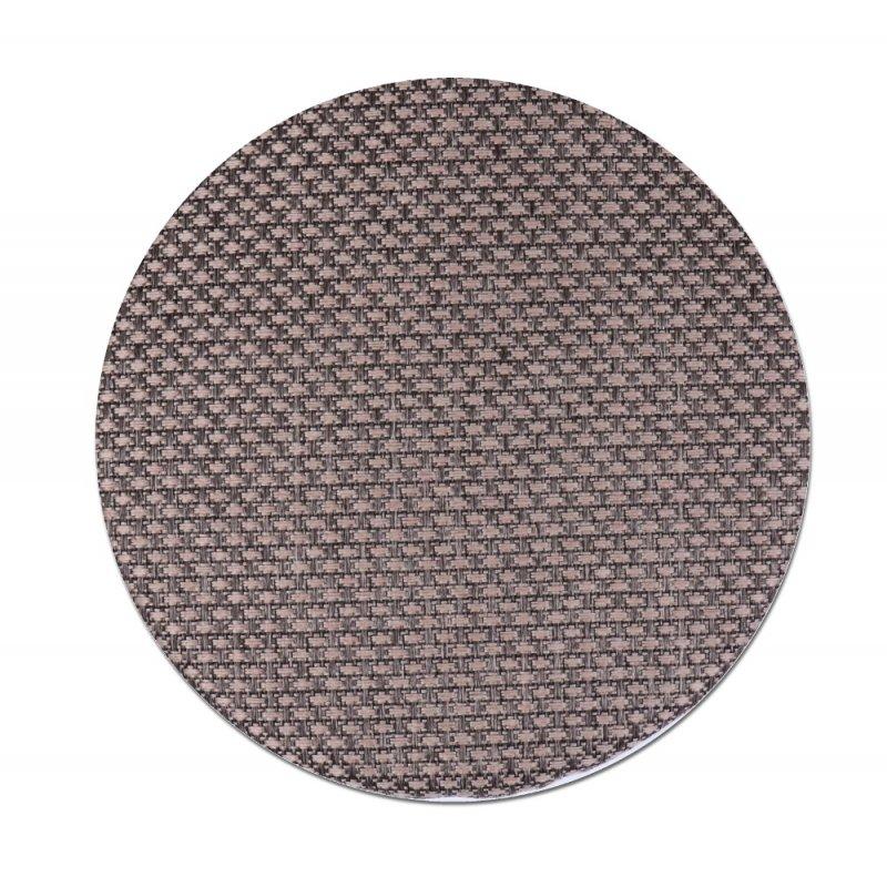 Okrągła Poduszka na Taboret 35 cm Beż Plecionka Poduszki na Taboret z Gumką