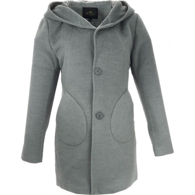 Płaszcz flauszowy z kapturem (szary)
