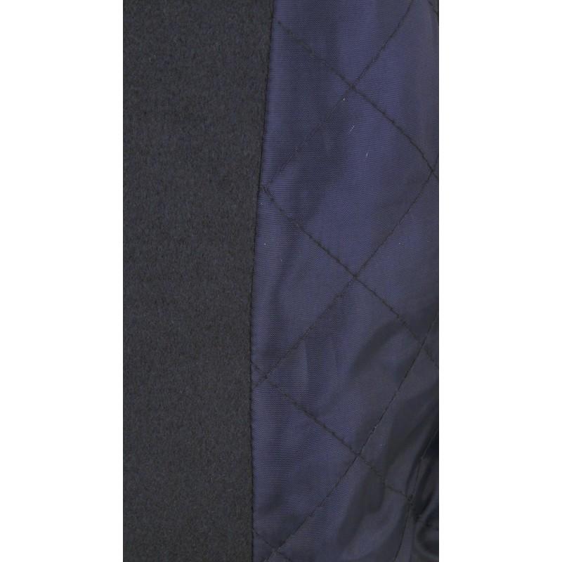 Płaszcz flauszowy z kapturem (granatowy)