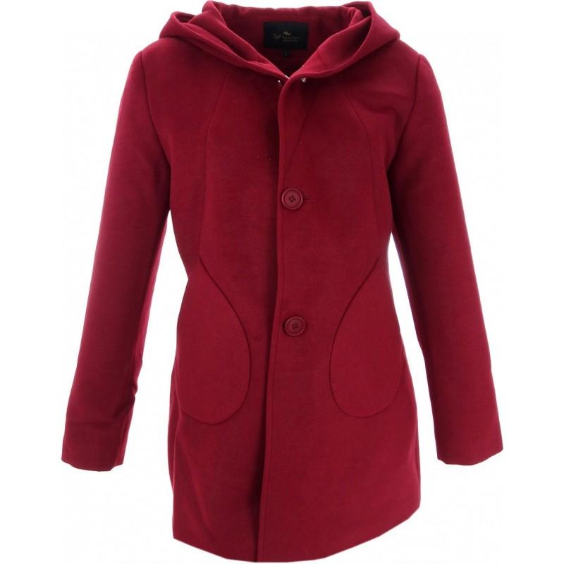 Płaszcz flauszowy z kapturem (bordowy)