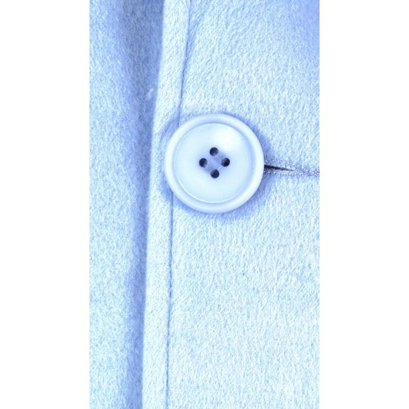 Płaszcz flauszowy z kapturem (błękitny)