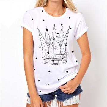 Koszulka w gwiazdki z koroną (biała)
