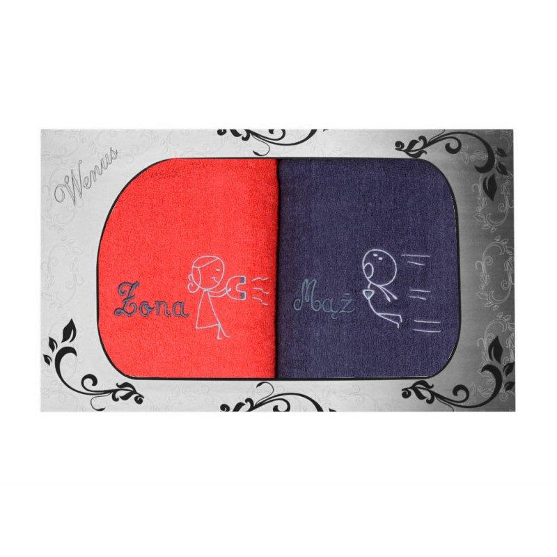 Komplet ręczników na prezent 2cz r Żona Mąż MZ-4362