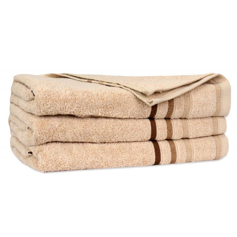 Ręcznik Bawełniany DUAL Beżowy Ręcznik Kąpielowy Ręcznik Frotte Ręcznik z Bawełny Ręcznik Łazienkowy Mały Średni Duży
