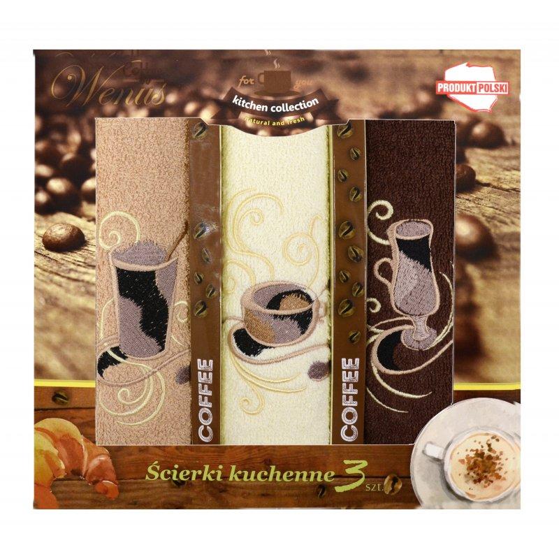 Zestaw ręczników kuchennych z haftem - COFFEE 4464 Komplet Ręczników Kuchennych Ręczniki do Kuchni Ręczniki Kuchenne Ściereczki