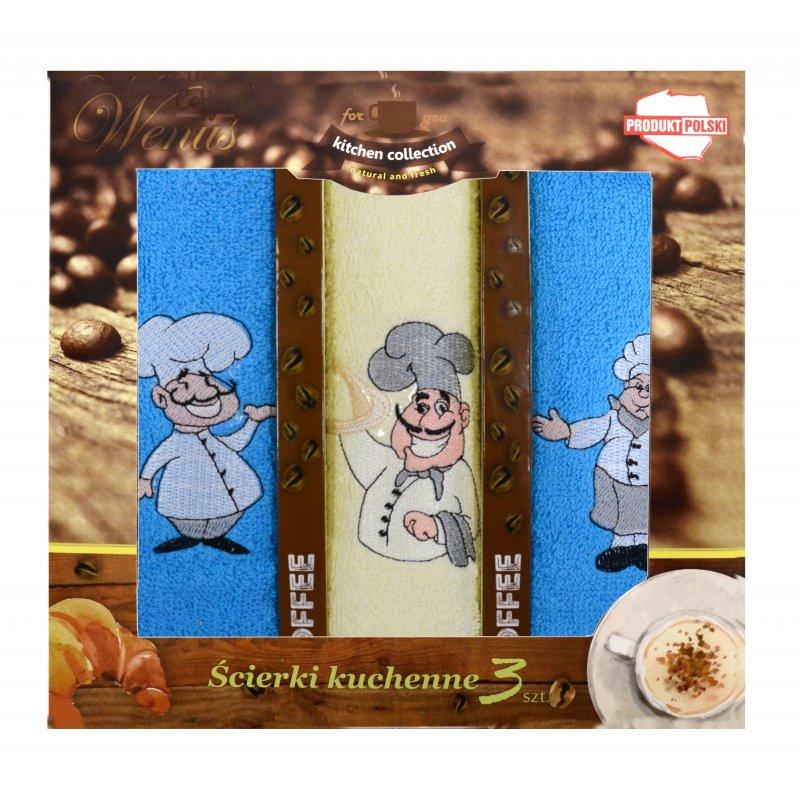 Zestaw ręczników kuchennych z haftem - COFFEE 4466 Komplet Ręczników Kuchennych Ręczniki do Kuchni Ręczniki Kuchenne Ściereczki