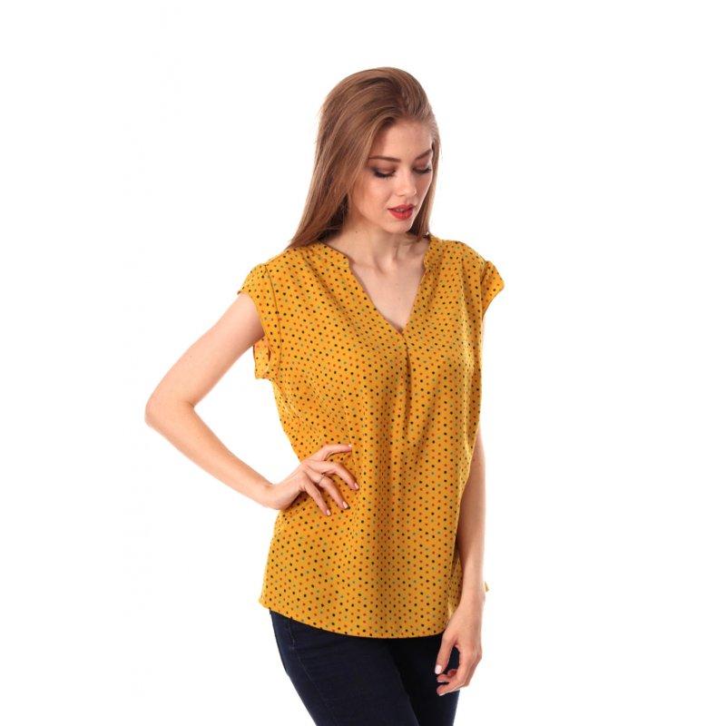 Zwiewna bluzka damska w groszki - musztardowa Bluzka w Groszki Musztardowa Bluzka