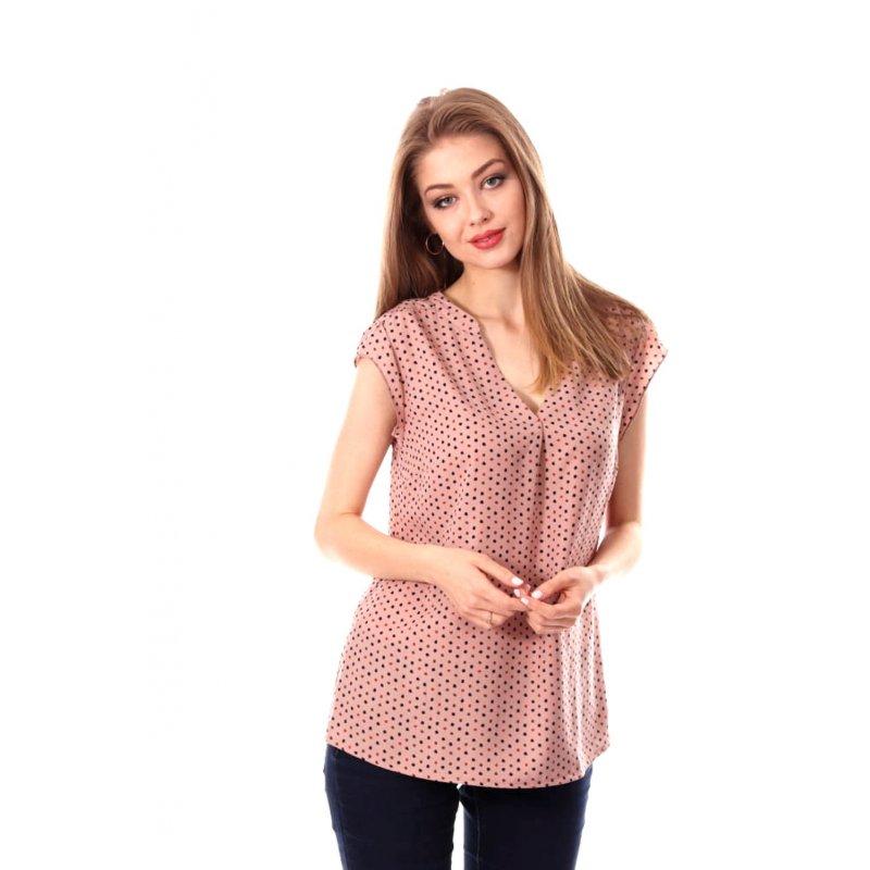 Zwiewna bluzka damska w groszki - Różowa Bluzka Damska Bluzka w Groszki