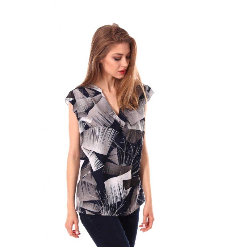 Zwiewna bluzka damska szaro- granatowa- wzór Szara Bluzka Damska Bluzka Damska Krótki Rękaw