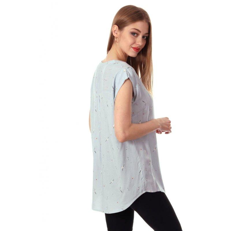 Bluzka damska z wiskozy- wzór MEWY Bluzka w Paski Damska Bluzka w Paski Pionowe