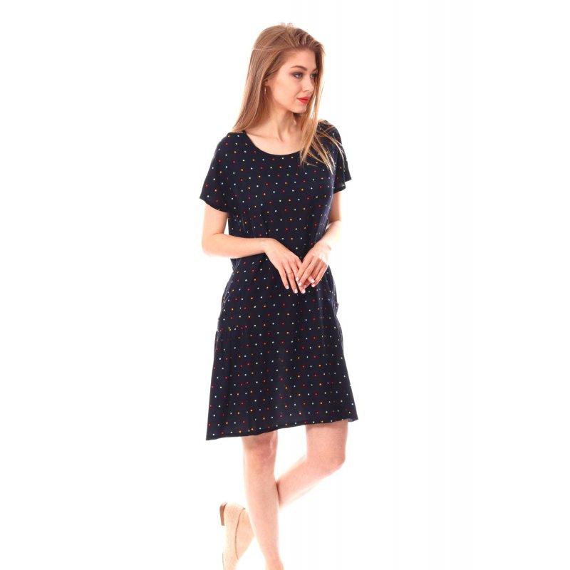 Sukienka damska w kropki- granatowa Granatowa Sukienka w Groszki Sukienka Granatowa na Wesele