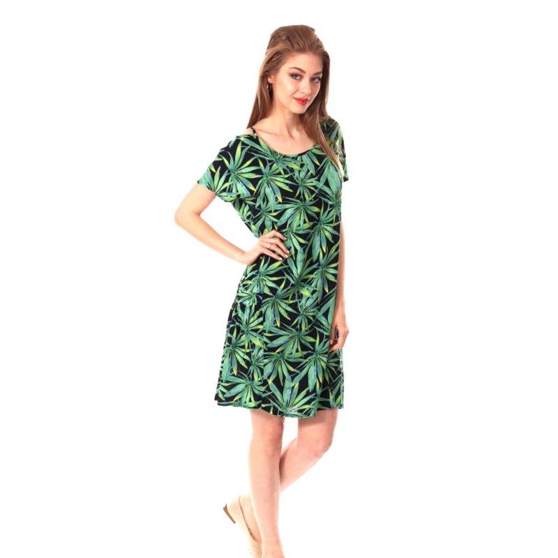 Sukienka damska w MODNE LIŚCIE Zielona Sukienka Damska Sukienka z Krótkim Rękawem