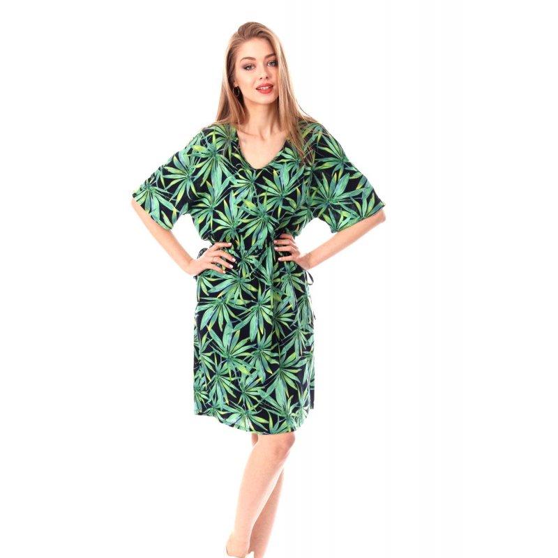 Sukienka damska w LIŚCIE- kimono Zielona SUkienka Damska Kimono Sukienka
