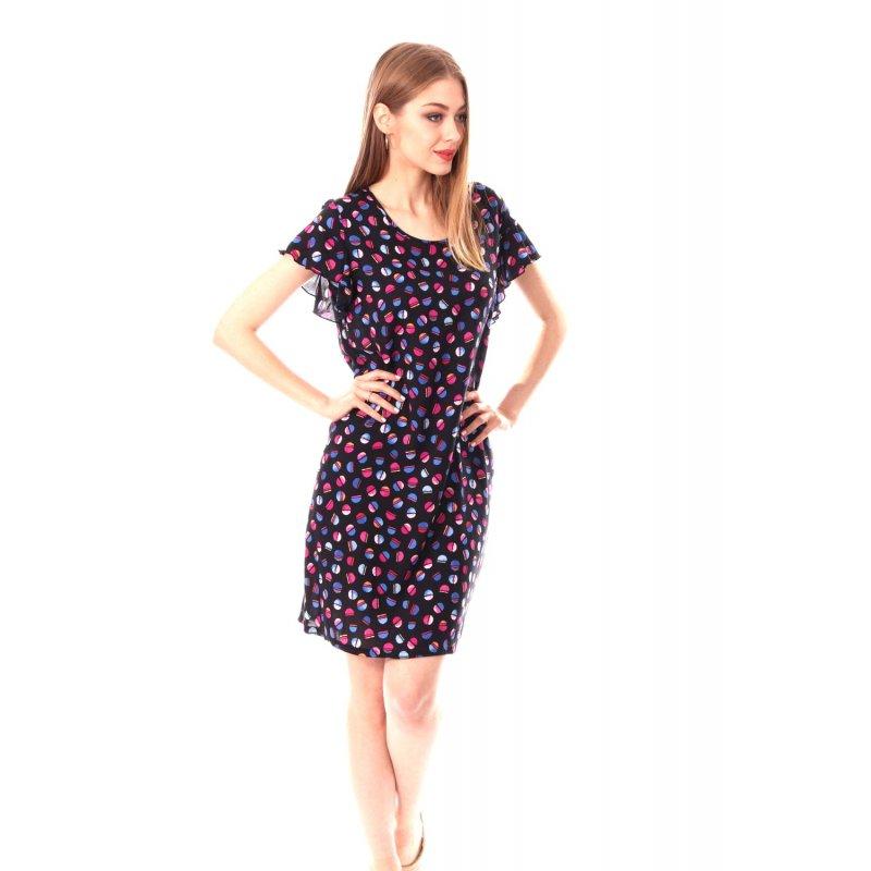 Prosta sukienka z rękawem typu motylek- KÓŁECZKA Prosta Sukienka na Codzień Prosta Elegancka Sukienka
