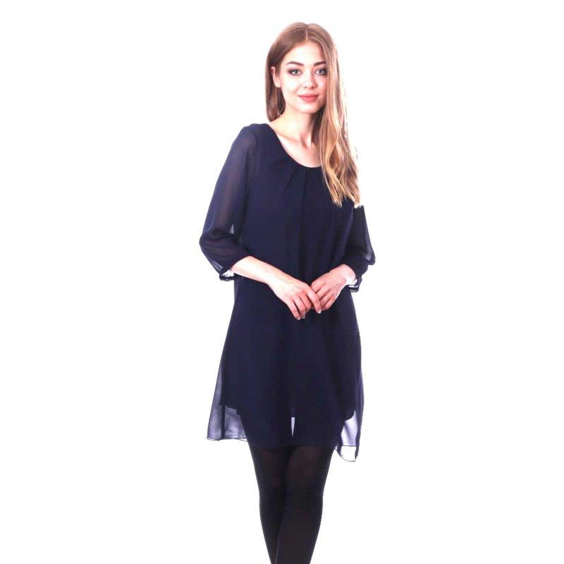 Prosta sukienka z szyfonu- granatowa Sukienka Granatowa na Wesele Zwiewna Sukienka z Szyfonu