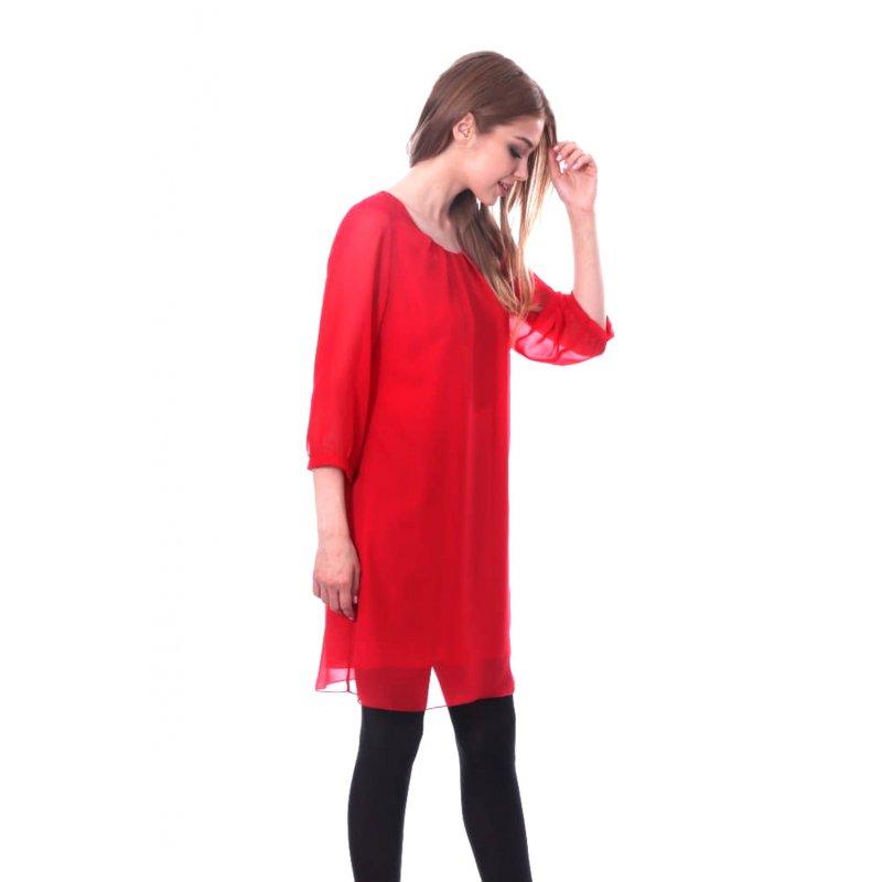 Prosta sukienka z szyfonu- czerwona Czerwona Sukienka Szyfonowa na Wesele