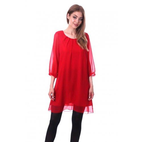 Prosta sukienka z szyfonu - czerwona
