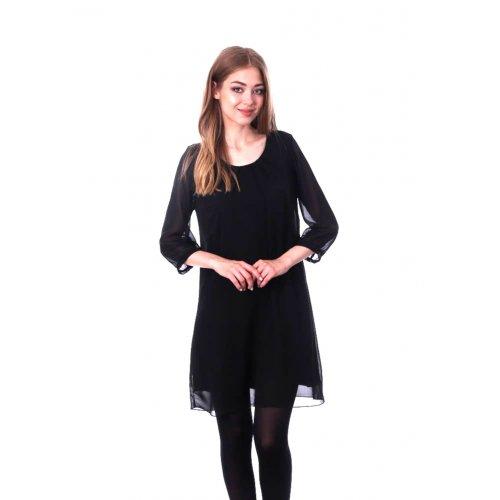 Prosta sukienka z szyfonu- czarna Czarna Sukienka z Szyfonu na Wesele