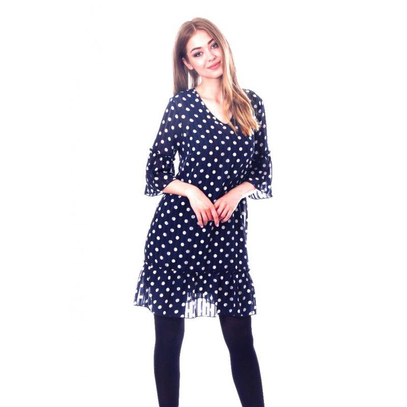 Prosta sukienka z szyfonu z falbanką- granatowa Sukienka z Szyfonu z Falbankami