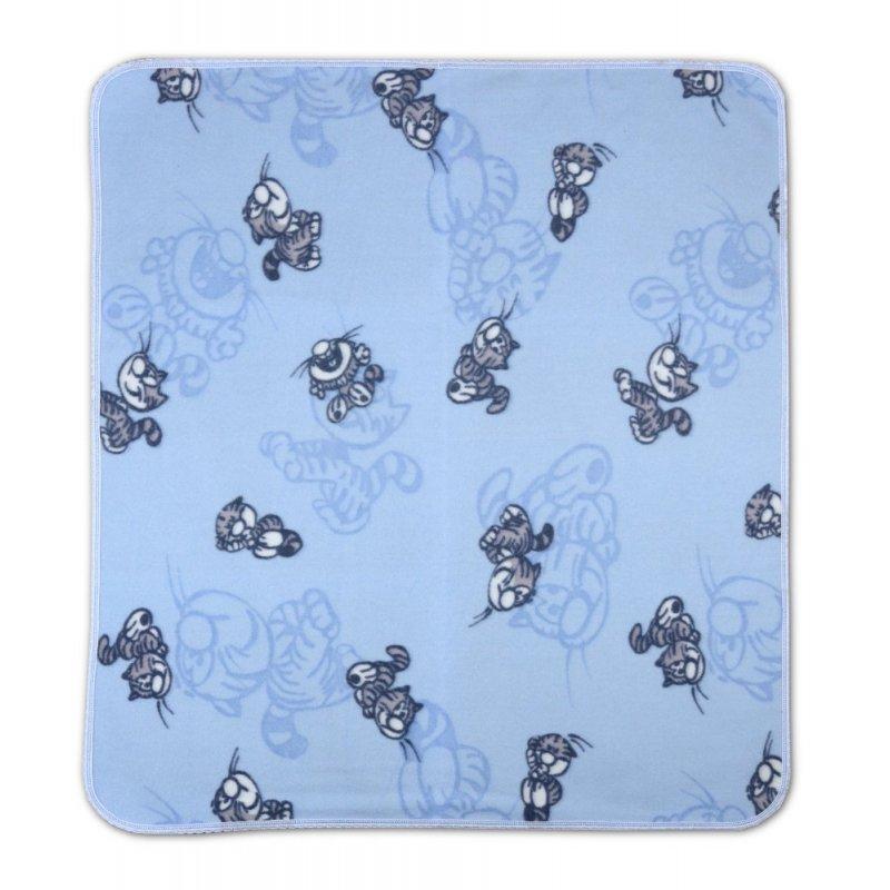 Niebieski Koc Polarowy 80x90 W KOTY Koc z Polaru Kocyk Dziecięcy Koc w koty Koc 80x90 Kocyk do Łóżeczka