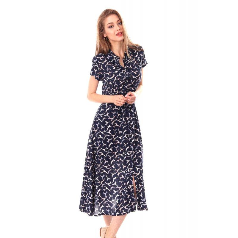 Sukien ka maxi z kołnierzykiem - wzór Długa Zwiewna Sukienka Granatowa Sukienka do Kostek