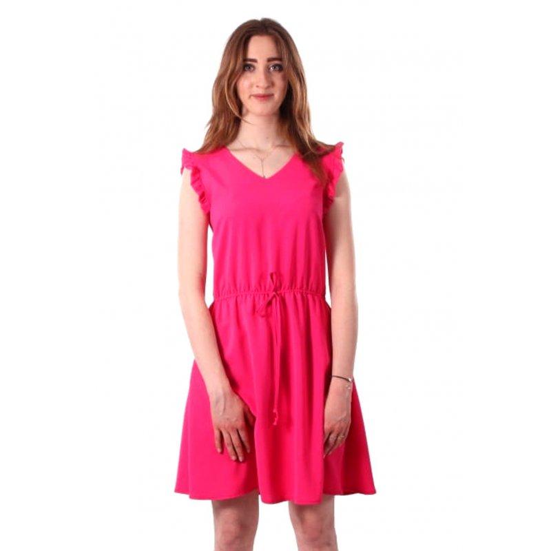Sukienka z gumką talii - FUKSJA Sukienka Rękaw Motyl Sukienka z Rękawem Motylek