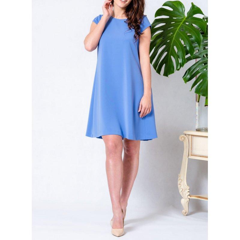 Sukienka trapezowa z plisą na plecach - błękitna Niebieska Sukienka Trapezowa na Wesele Sukienka z Plisą