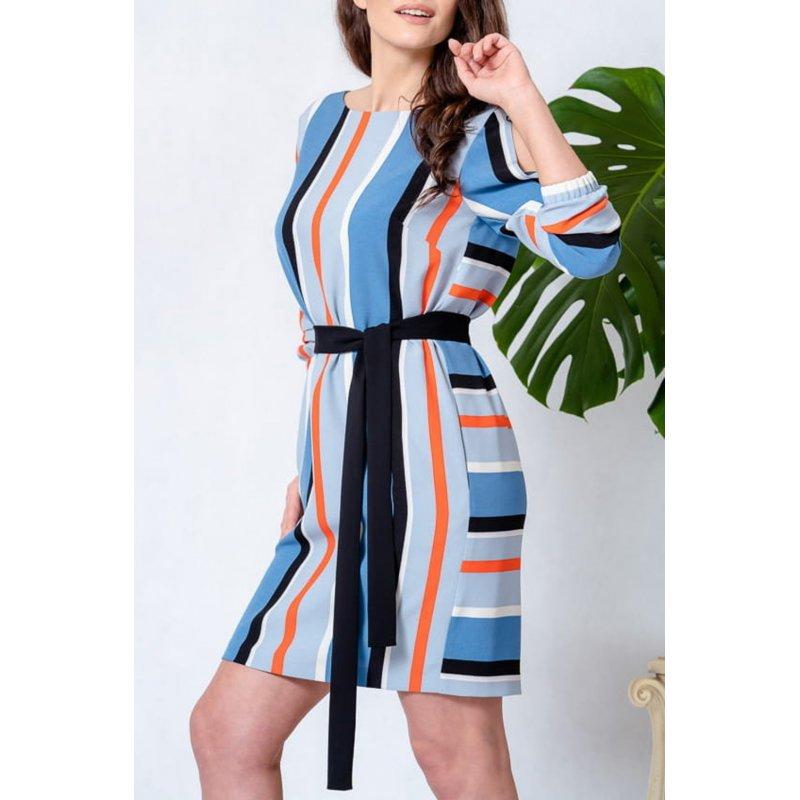 Sukienka w pionowe kolorowe pasy Sukienka w Paski Pionowe Sukienka z Paskiem w Talii