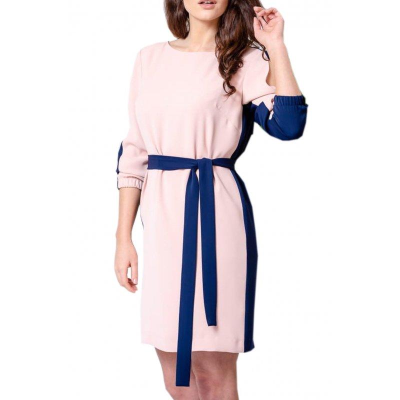 Sukienka dwukolorowa - granat + pudrowy róż Sukienka z Paskiem w Talii Dwukolorowa Sukienka