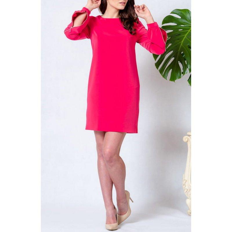 Sukienka z rękawem na zamek - różowa Sukienka na Długi Rękaw