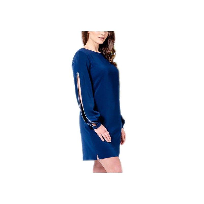Sukienka z rękawem na zamek - Granatowa Sukienka z Długim Rękawem