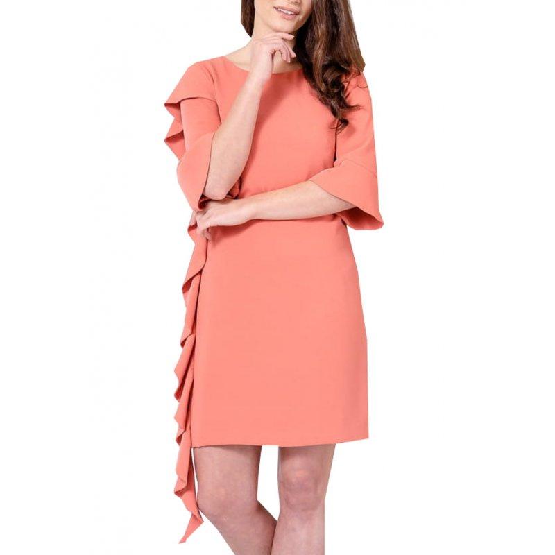 Sukienka z FALBANĄ  na boku - ciemny róż Ciemno Różowa Sukienka Ołówkowa z Falbaną