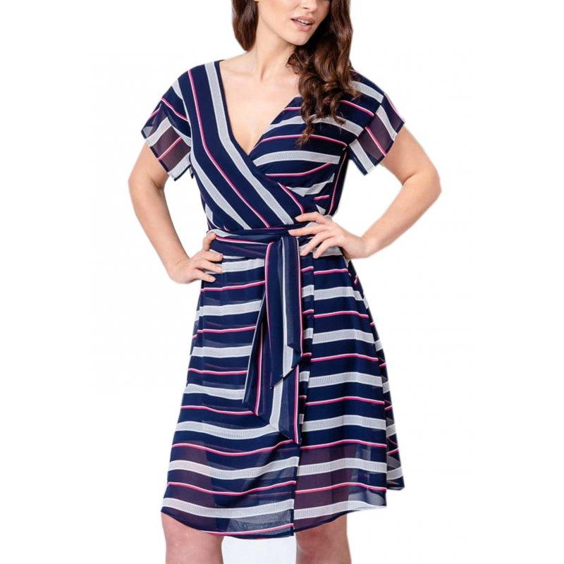 Sukienka z szyfonu z kopertowym dekoltem - paski Sukienka Szyfonowa na Wesele Sukienka w Paski