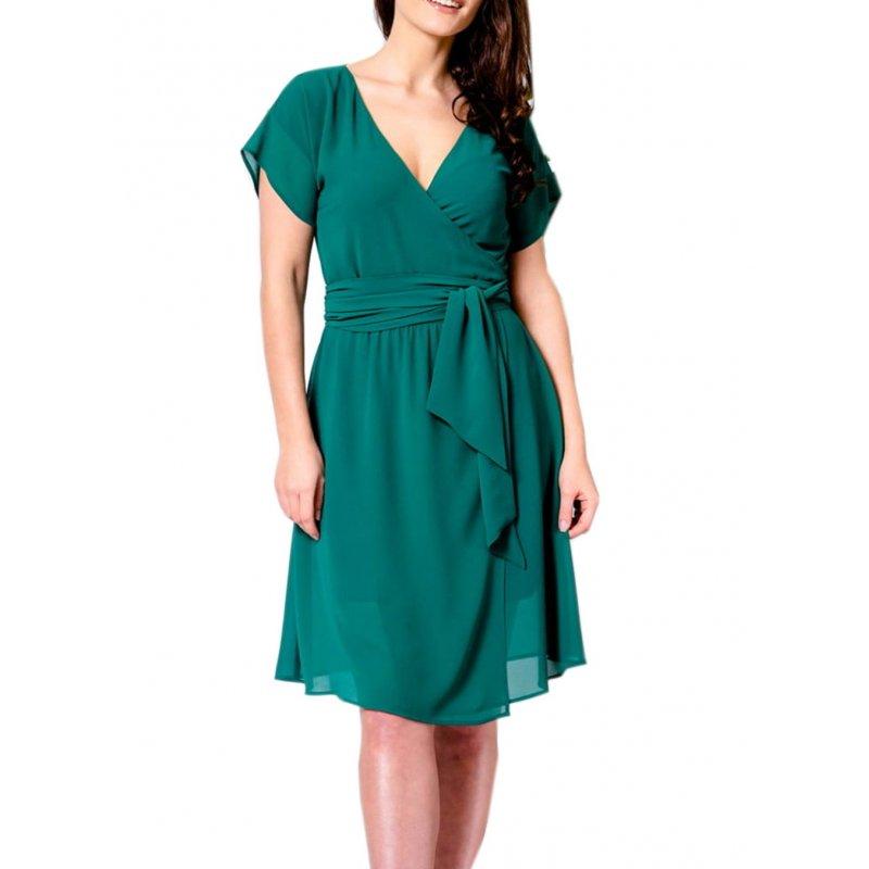 Sukienka z szyfonu z kopertowym dekoltem - ZIELONA Zwiewna Sukienka z Szufonu Zielona Sukienka z Szyfonu na Wesele