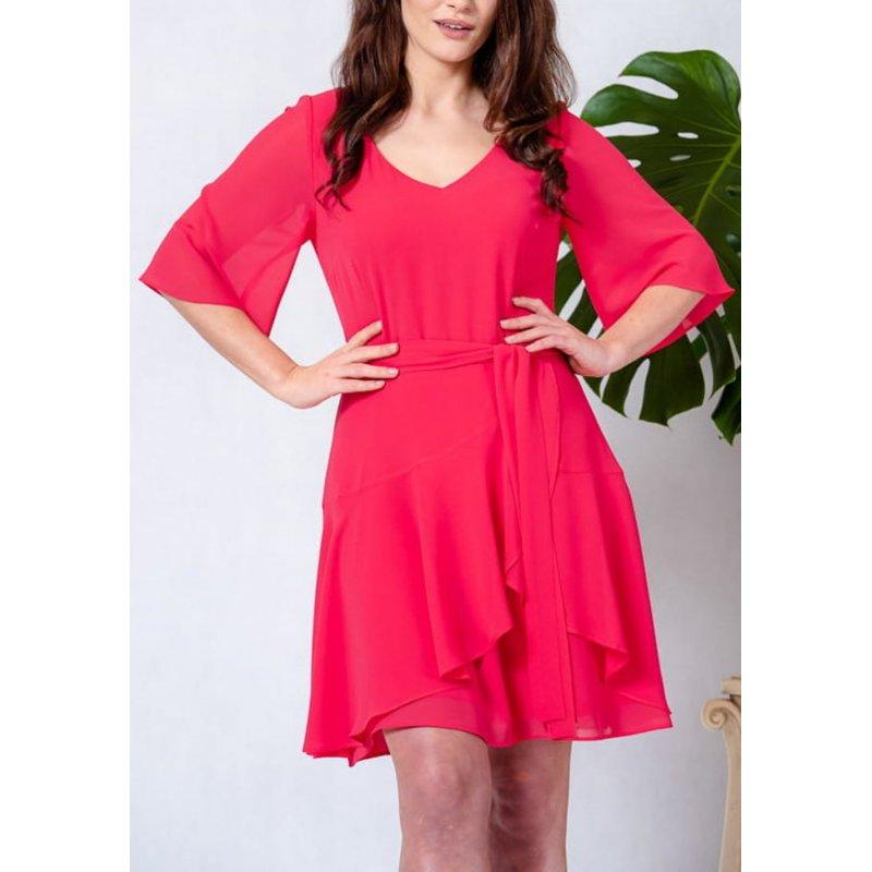 Sukienka z szyfonu z zakładaną FALBANĄ - KORAL Sukienka z Szyfonu z Falbankami Zwiewna Sukienka Szyfonowa