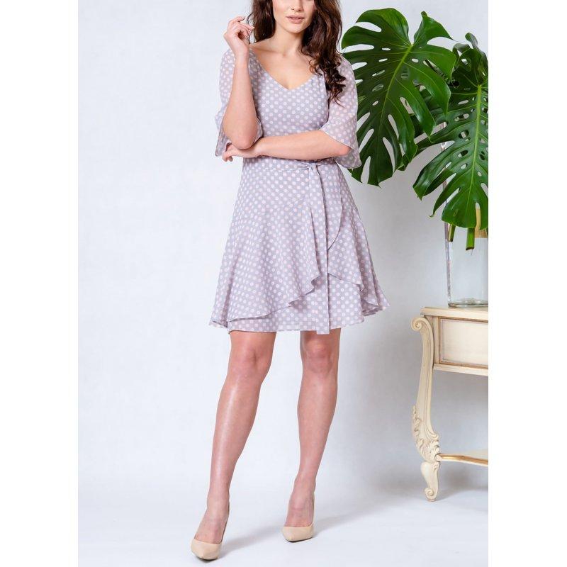 Sukienka z szyfonu z zakładaną FALBANĄ - GROSZKI Elegancka Sukienka Szyfonowa  Zwiewna Sukienka z Szyfonu