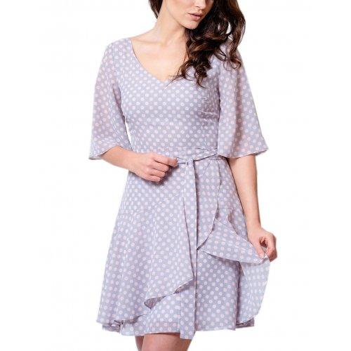 Sukienka z szyfonu z zakładaną FALBANĄ - GROSZKI
