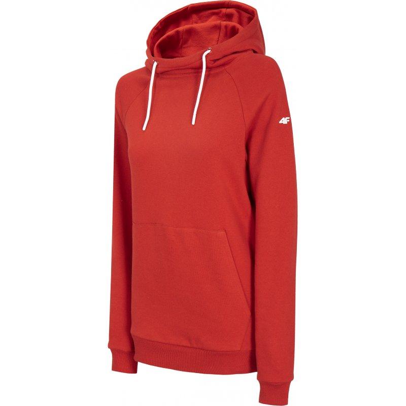 Damska bluza 4F z kapturem BLD002 - Czerwona Bluza Damska przez Głowę z Kapturem Bluza Damska z Kapturem 4F