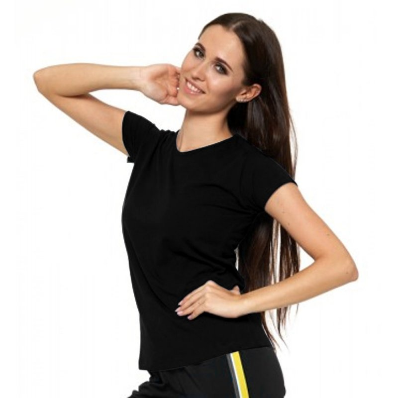 Czarna Koszulka Damska Krótki Rękaw BD900-420 Bluzka na Lato Koszulka Moraj Koszula Damska Gładka Koszulka z Krótkim Rękawem