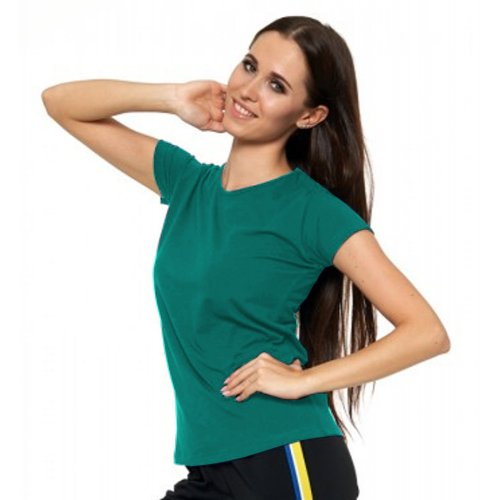 Turkusowa Koszulka Damska Krótki Rękaw BD900-420 Bluzka na Lato Koszulka Moraj Koszula Damska Gładka Koszulka z Krótkim Rękawem