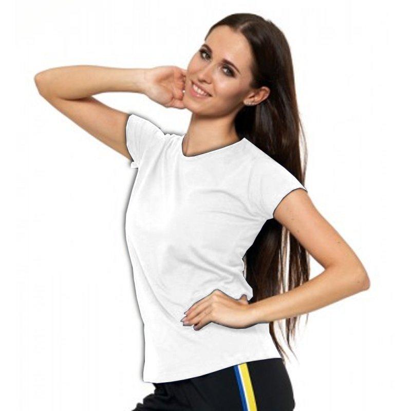 Biała Koszulka Damska Krótki Rękaw BD900-420 Bluzka na Lato Koszulka Moraj Koszula Damska Gładka Koszulka z Krótkim Rękawem