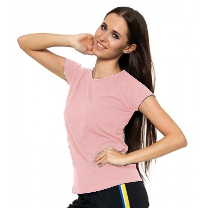 Pudrowy Róż Koszulka Damska Krótki Rękaw BD900-420 Bluzka na Lato Koszulka Moraj Koszula Damska Gładka Koszulka z Krótkim Rękawe