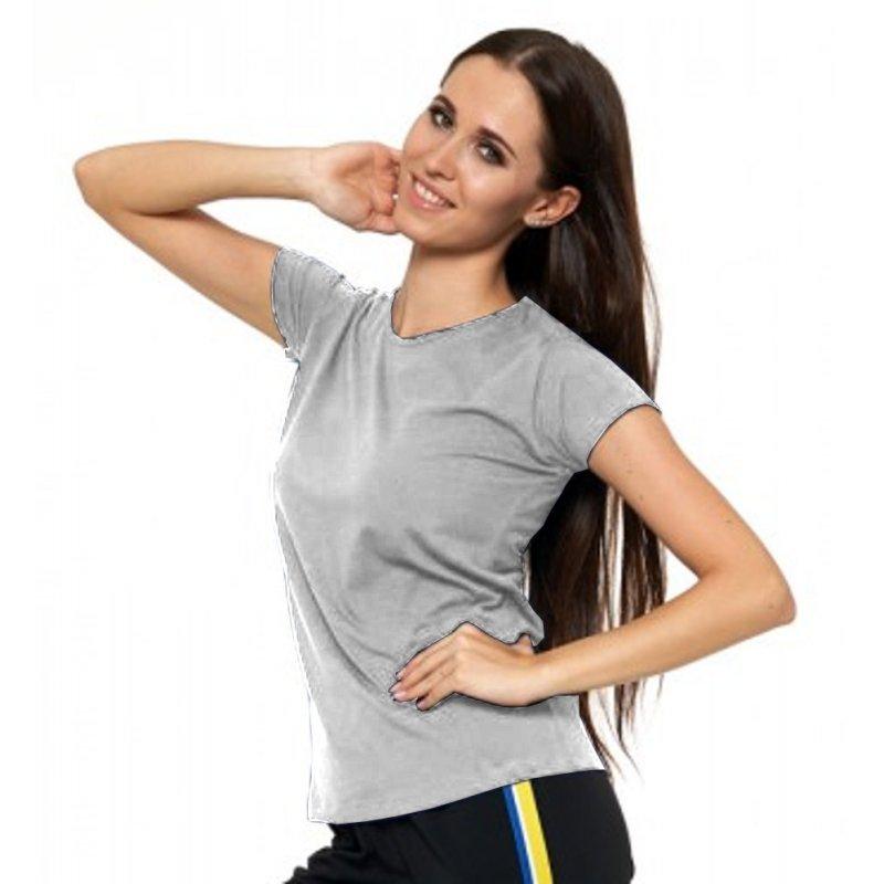 Jasno Szara Koszulka Damska Krótki Rękaw BD900-420 Bluzka na Lato Koszulka Moraj Koszula Damska Gładka Koszulka z Krótkim Rękawe