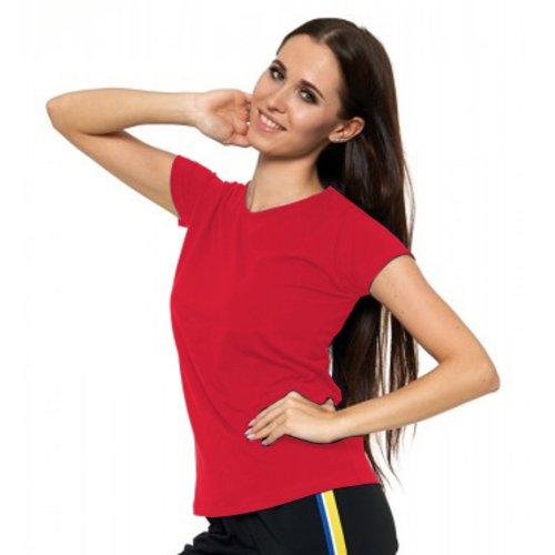 Malinowa Koszulka Damska Krótki Rękaw BD900-420 Bluzka na Lato Koszulka Moraj Koszula Damska Gładka Koszulka z Krótkim Rękawem
